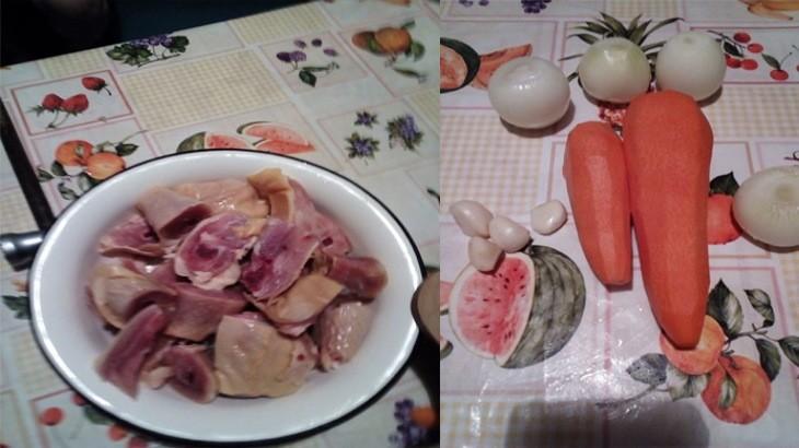 Приготовление к готовке окорочков и овощей
