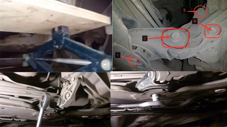 Снятие нижней опоры двигателя на автомобиле