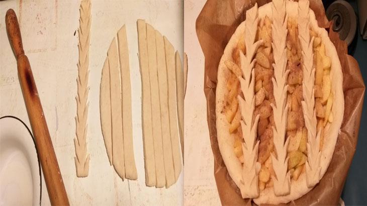 Формирование верхней части пирога с яблоками