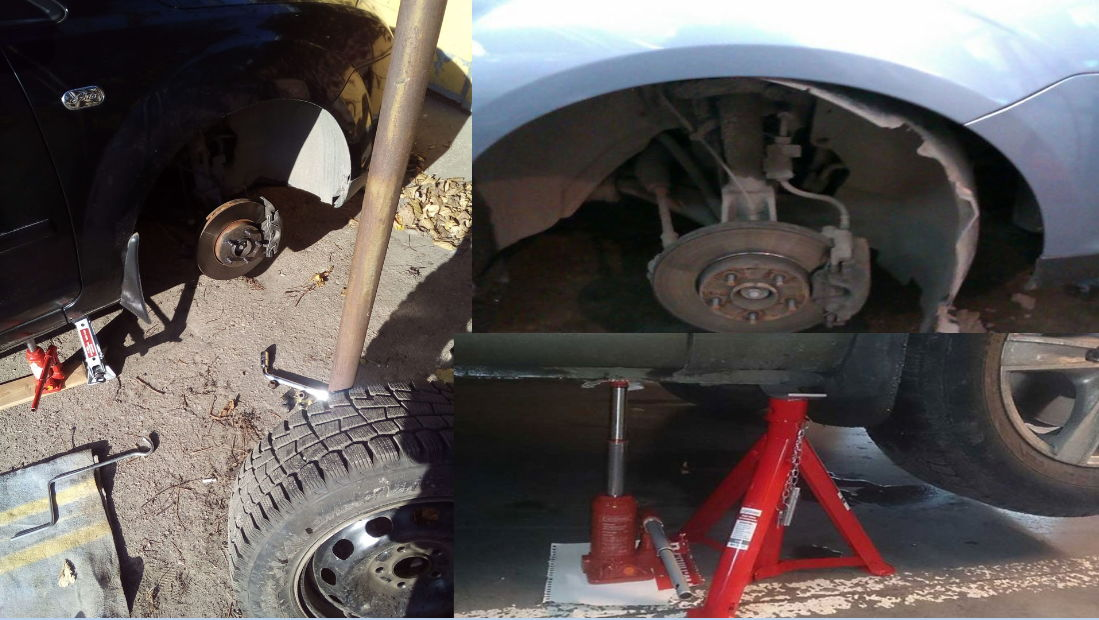 Поддомкраченное передняя часть автомобиля