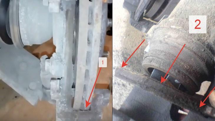 Чистим тормозной суппорт и тормозной цилиндр и вытаскиваем внутреннюю тормозную колодку