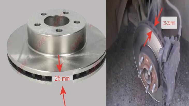 Толщина новых и изношенных тормозных дисков