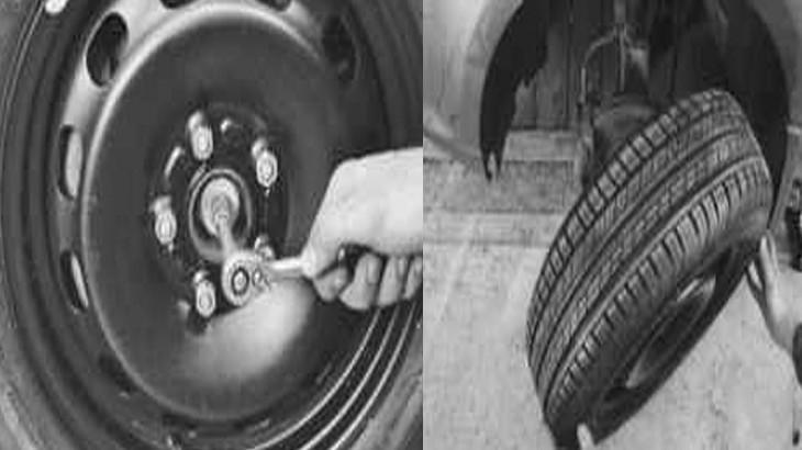 Откручиваем колесо на автомобиле фф2 и снимаем его