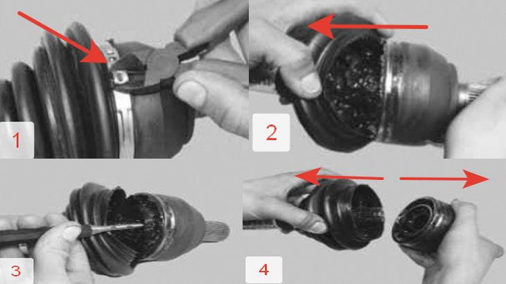 Порядок снятия наружного шруса с переднего левого привода автомобиля