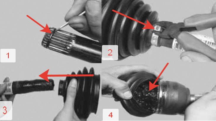 Снятие с привода стопорного кольца,снятие пыльника,постановка нового пыльника