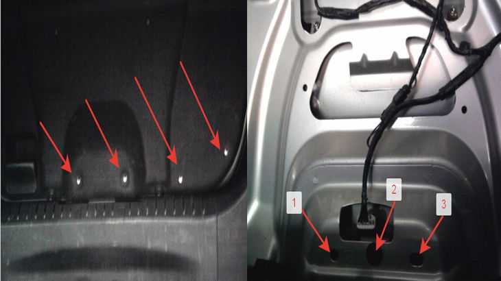 Откручивание клипс и снятие обшивки крышки багажника автомобиля ФФ2