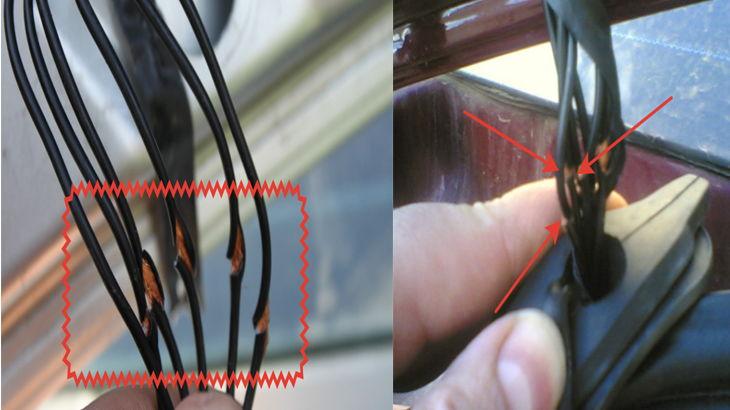 Переломленные провода подключения к электрозамку автомобиля