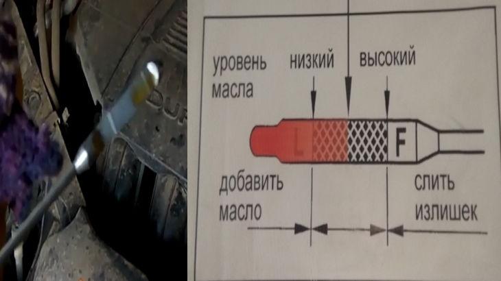 Уровень масла оптимальный который должен находится на щупе при замере