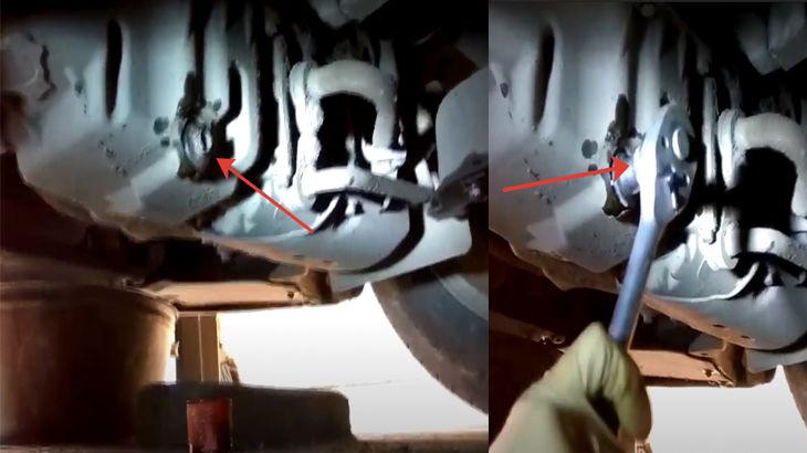 Закручиваем сливную масляную пробку на картере двигателя автомобиля