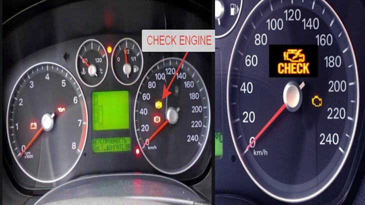 Приборная панель автомобиля Форд Фокус 2,загорелась лампочка неисправность двигателя CHECK ENGINE